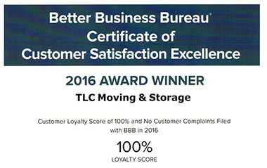 BBB Award Winner for 2016 - Customer Satisfaction Excellence for TLC Moving and Storage