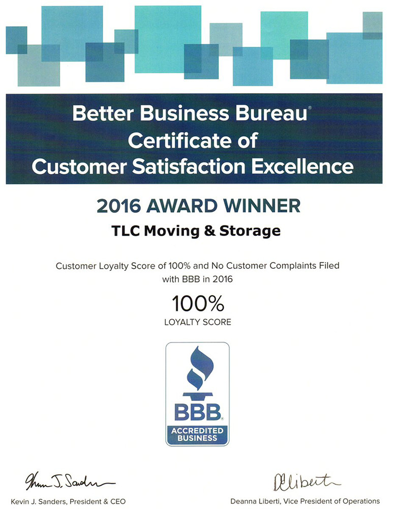 BBB Award Winner For 2016   Customer Satisfaction Excellence For TLC Moving  And Storage